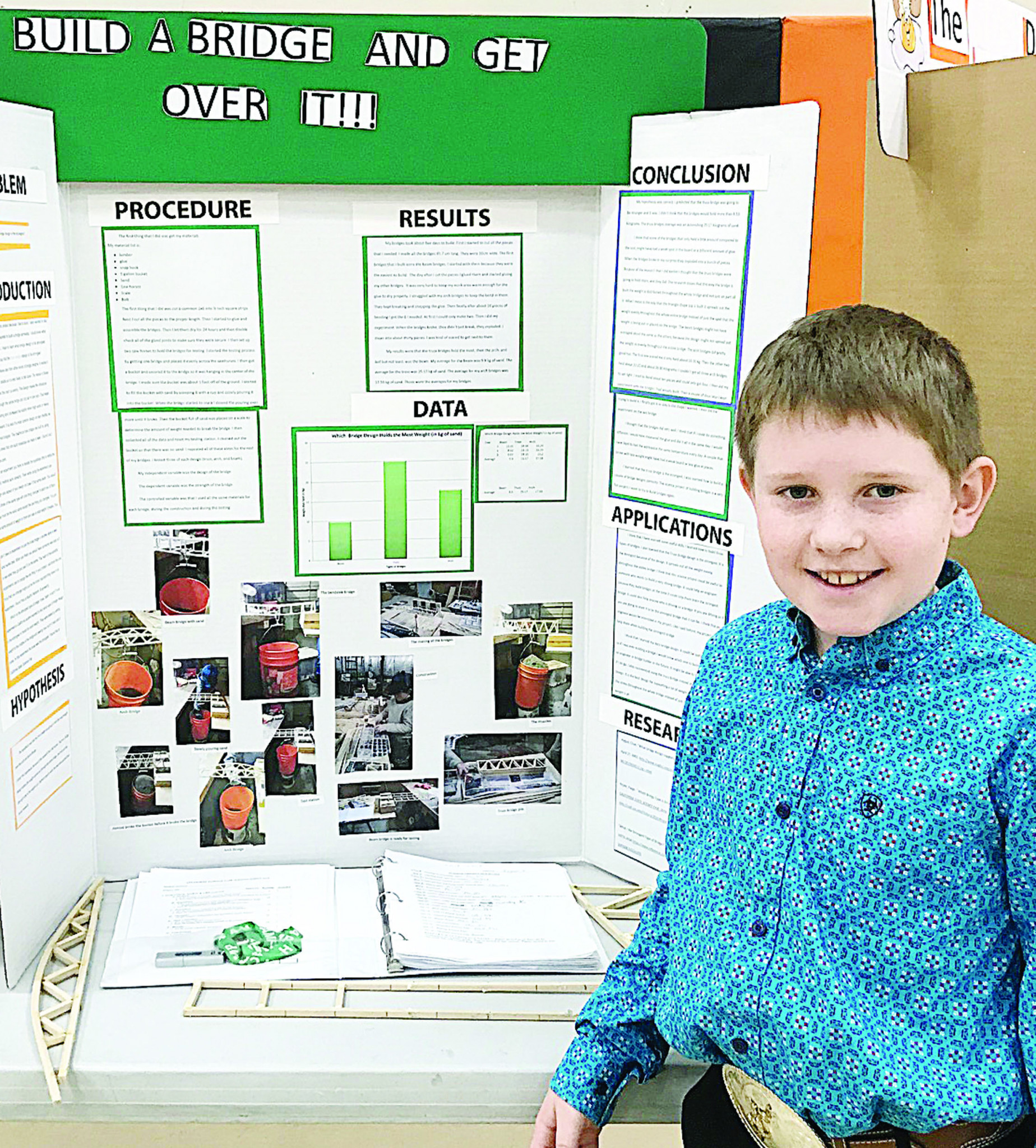 Courtesy photoLogan Young with his award-winning Absarokee Science Fair project.
