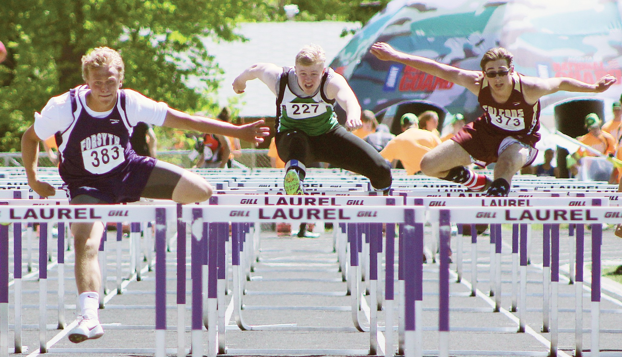 Columbus' Michael Jacobson (middle) -- 110 Hurdles