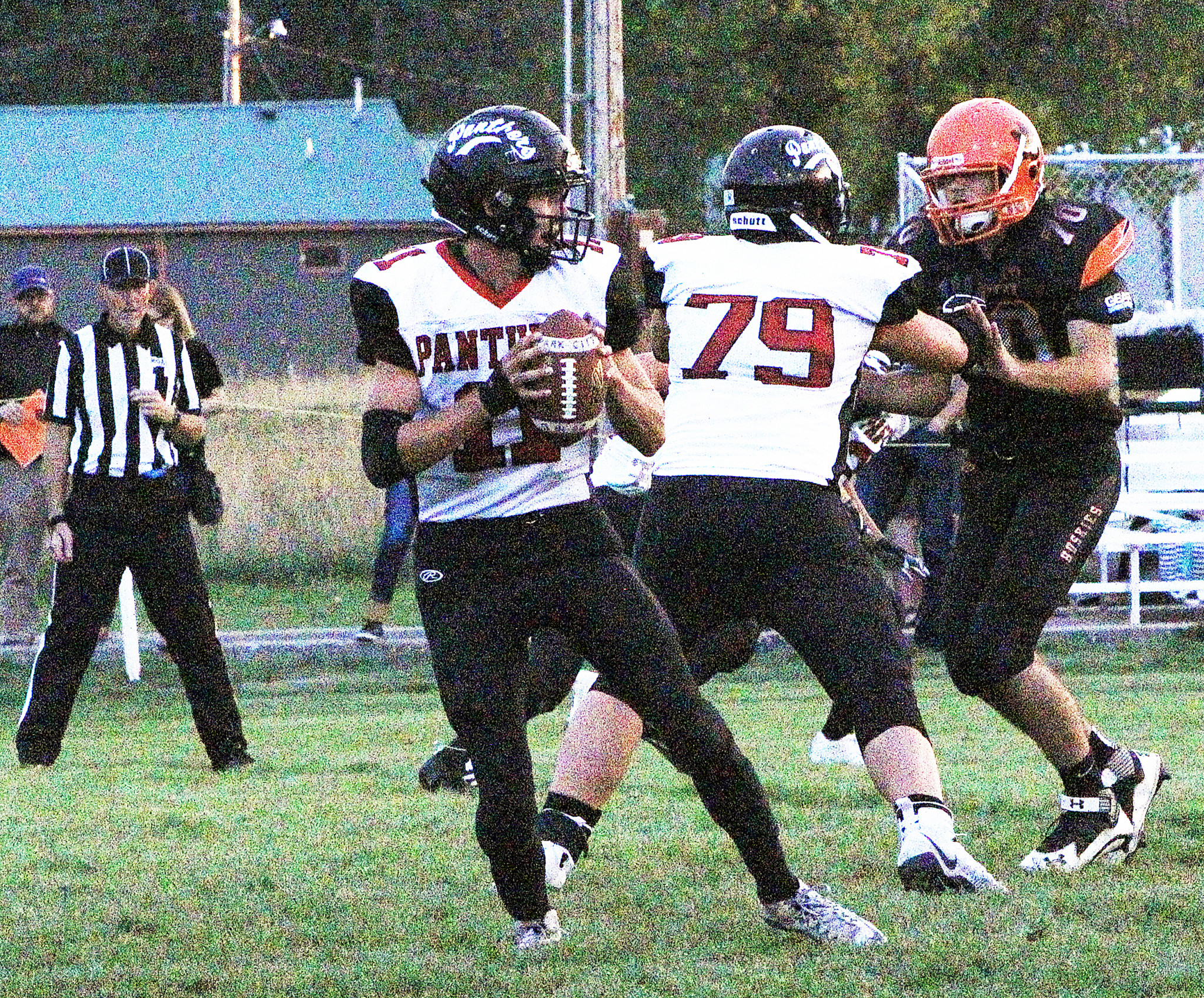 Park City's Connor McNeil drops back to pass. |SCN photo by Mikaela Koski